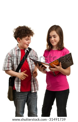 Kids holding book isolated on white background