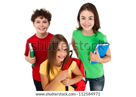 Kids holding books isolated on white background - stock photo