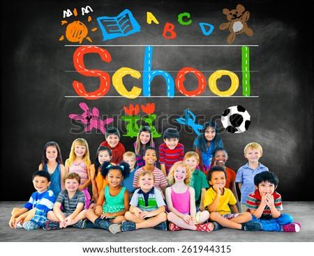 Kids Imagination Handwriting School Learning Concept - stock photo