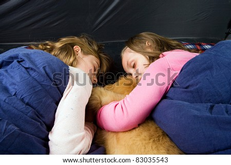kids in a tent - stock photo