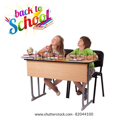Kids in bench with back to school theme isolated on white - stock photo