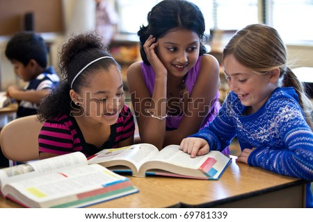 Kids in Classroom Studying - stock photo