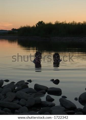 Kids in Great Miami River - stock photo