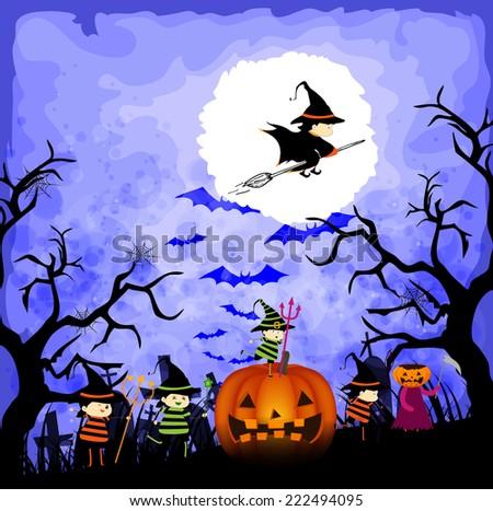 kids in halloween costumes - stock photo