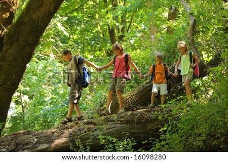 Kids in wilderness walking across log - stock photo