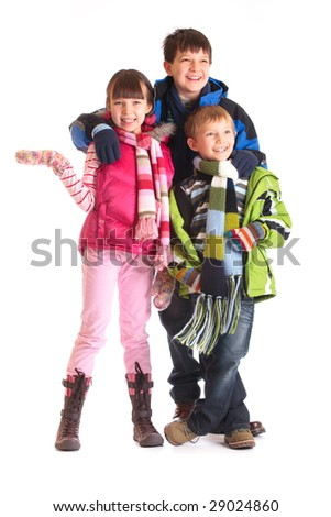Kids in winter clothes