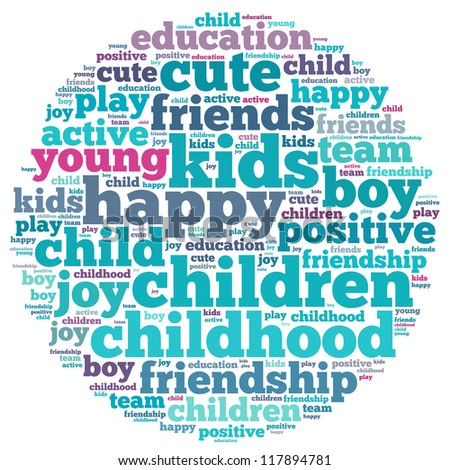 kids info-text graphics and arrangement concept on white background (word cloud)