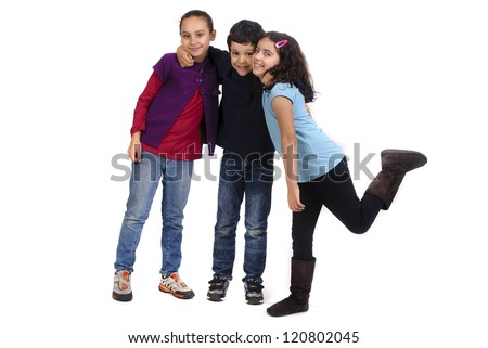 kids  isolated in white - stock photo