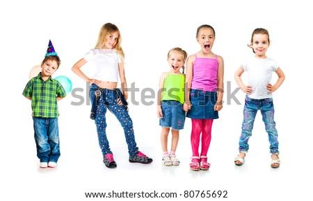 Kids isolated on white - stock photo
