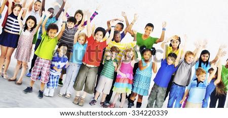 Kids Joyful Celebration Togetherness Happiness Concept - stock photo