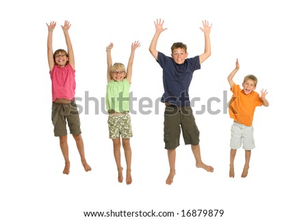 Kids jumping, isolated on white background - stock photo