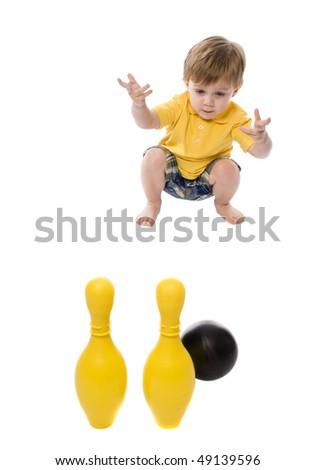 kids just having fun and playing shot on white - stock photo
