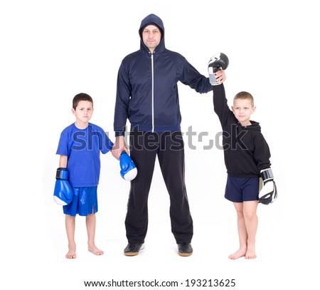 Kids Kickboxing Fight. Isolated on a white background. Studio shot - stock photo