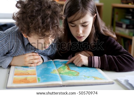 Kids learning at home - stock photo