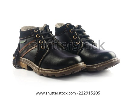 Kids Leather boots - stock photo