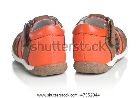 Kids leather shoes. Isolated on white background.