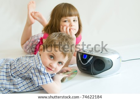 kids listening to music or fairy tale - stock photo