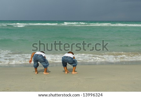 Kids Looking for Treasure - stock photo