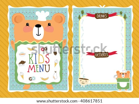Kids menu bitmap template, cartoon design with funny characters.  - stock photo