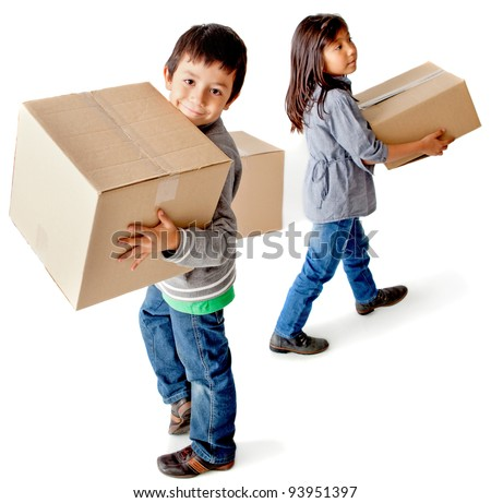 Kids moving house carrying cardboard boxes - isolated over a white background - stock photo