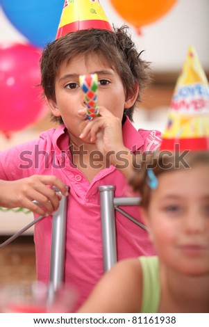 kids on a birthday party - stock photo