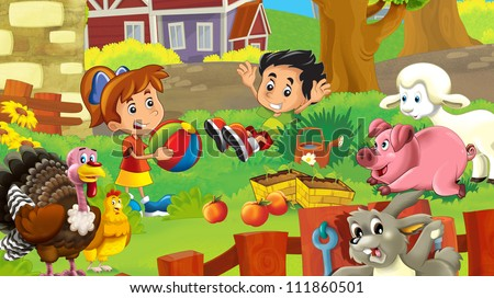 Kids on the farm - illustration for the children 2