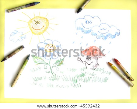 kids pencil drawing of happy sun, clouds, flower and mushroom - stock photo