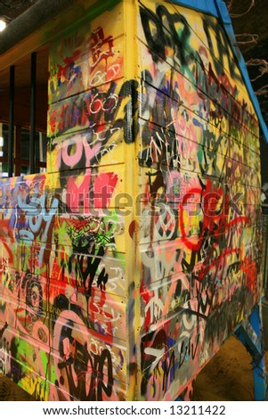 Kids Play house covered in Graffiti CANS London 2008 - stock photo