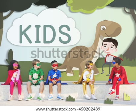 Kids Playful Young Childhood Enjoyment Concept - stock photo