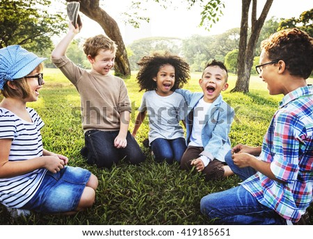 kids playing cheerful park outdoors concept - Free Images Of Kids