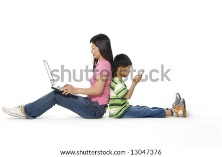 kids playing computer games or learning online - stock photo