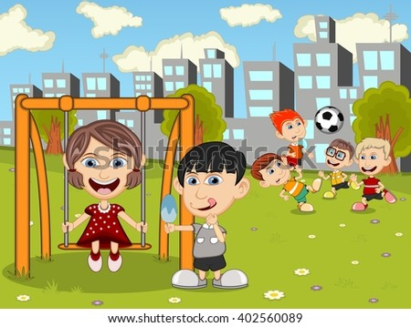 Kids playing in the park cartoon image illustration - stock photo