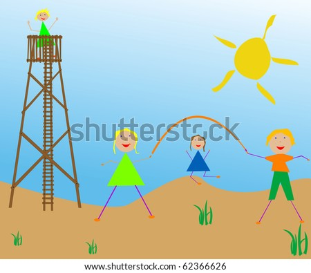 kids playing in the sun, abstract art illustration; for vector format please visit my gallery - stock photo