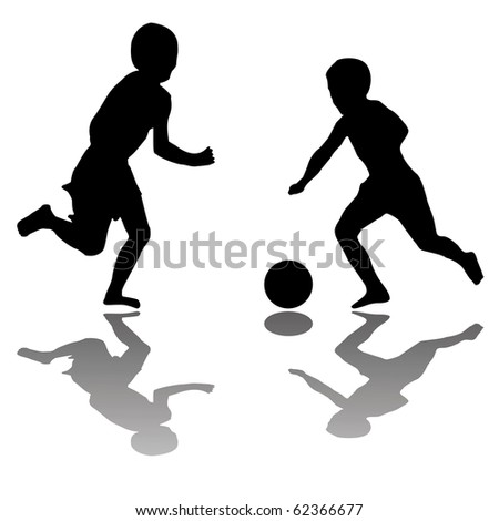 kids playing soccer black silhouettes, abstract art illustration; for vector format please visit my gallery - stock photo