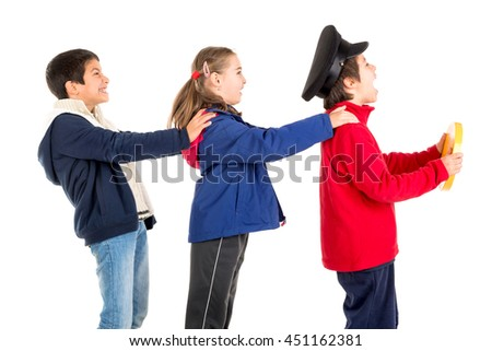 Kids playing transportation isolated in a white background