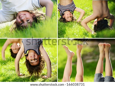 Kids playing upside down outdoors in summer park walking on hands