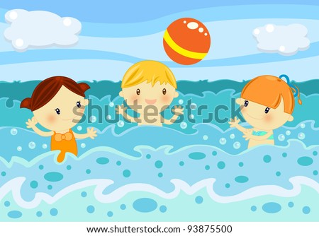 Kids playing volleyball among the ocean waves - stock photo