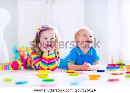 Two Kids Building Blocks Eyes