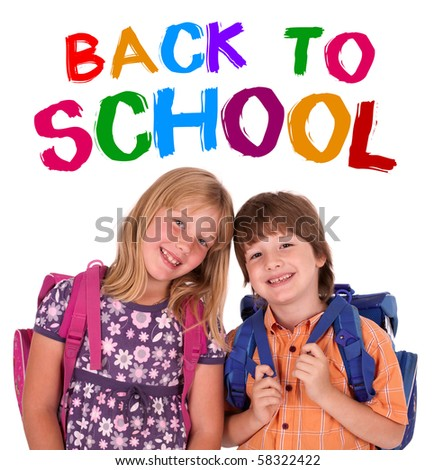 kids posing for back to school theme over white background - stock photo