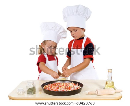 Kids preparing a surprise meal for their parents - isolated - stock photo
