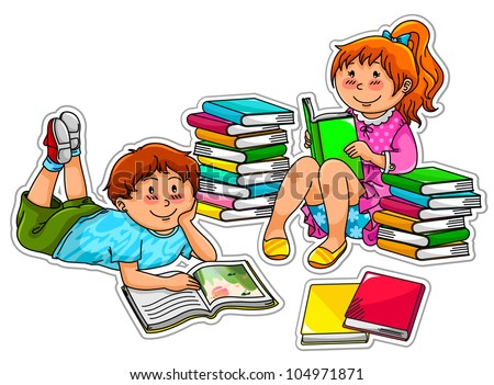 kids reading books (vector version can be found in my gallery) - stock photo