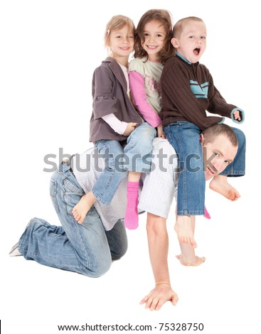 Kids riding on dad's back. Isolated on white. - stock photo