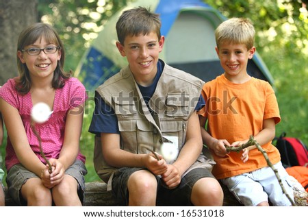 Kids roasting marshmallows - stock photo