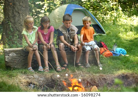 Kids roasting marshmallows at campfire - stock photo