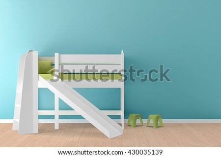 Kids room interior, bed with a slide and two small chairs on the side - 3D illustration.