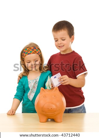 Kids saving their money - financial education concept, isolated - stock photo