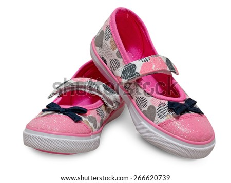 Kids shoes isolated. Female child pink sandals. - stock photo
