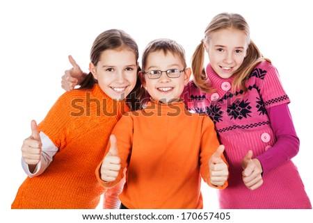 Kids showing ok sign isolated on white background - stock photo