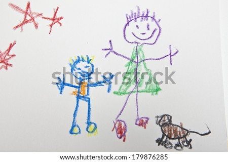 Kids Stick Figure - stock photo