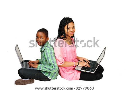 Kids studying on computer looking up - stock photo